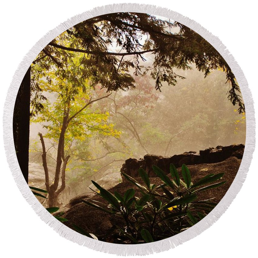 Rock City Round Beach Towel featuring the photograph Yellow Leaves In The Mist by Lori Mahaffey