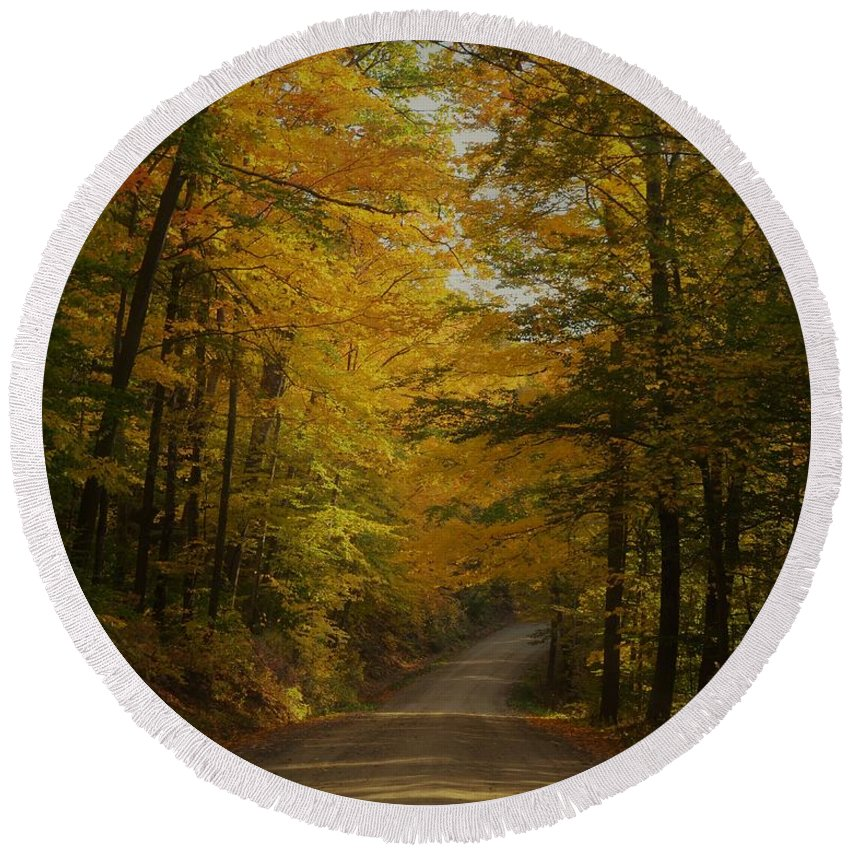 Autumn Round Beach Towel featuring the photograph Yellow Leaves Road by Mark Schiffner