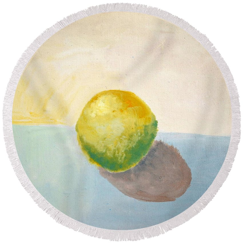 Lemon Round Beach Towel featuring the painting Yellow Lemon Still Life by Michelle Calkins