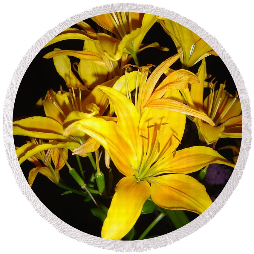 Yellow Lilies Bouquet Round Beach Towel featuring the photograph Yellow Lilies by Joanne Smoley