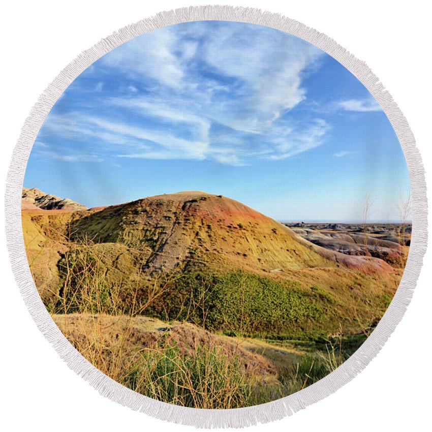 Badlands Round Beach Towel featuring the photograph Yellow Mounds by Bonfire Photography