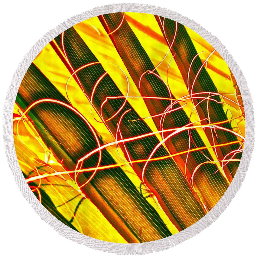 Photograph Round Beach Towel featuring the photograph Yellow Palm Fun by Gwyn Newcombe