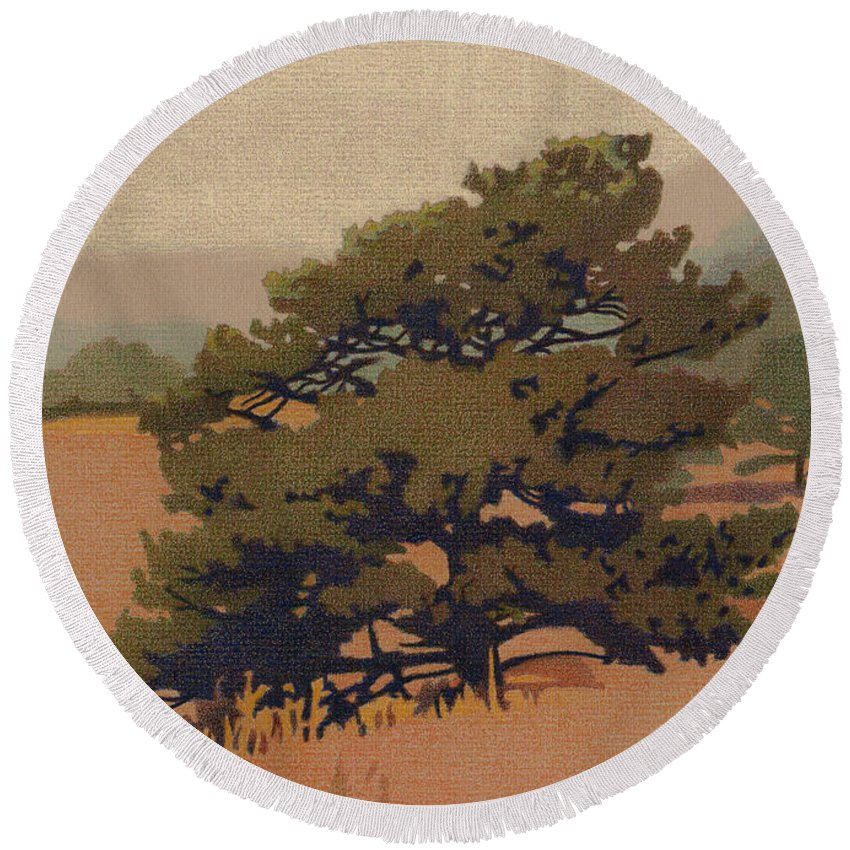 Art Round Beach Towel featuring the drawing Yellow Pine by Dan Miller