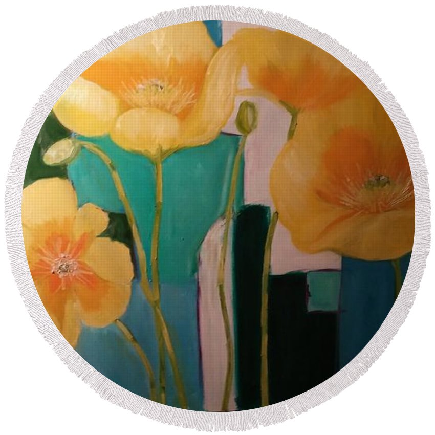 Still Life On Large Surface Round Beach Towel featuring the painting Yellow Poppies On Blue by Terrence Howell