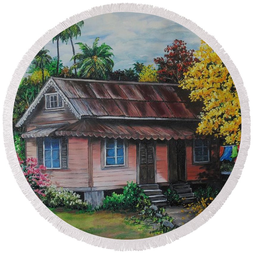 Old House Round Beach Towel featuring the painting Yellow Poui Time by Karin Dawn Kelshall- Best