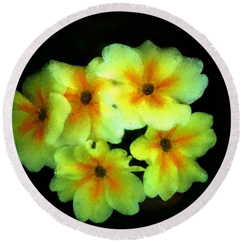 Digital Photo Round Beach Towel featuring the photograph Yellow Primrose 5-25-09 by David Lane