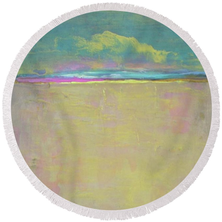 Landscape Round Beach Towel featuring the painting Yellow Rain On Sandy Beach by Vesna Antic