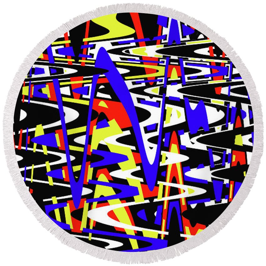 Yellow Red Blue Black And White Abstract Round Beach Towel featuring the photograph Yellow Red Blue Black And White Abstract by Tom Janca