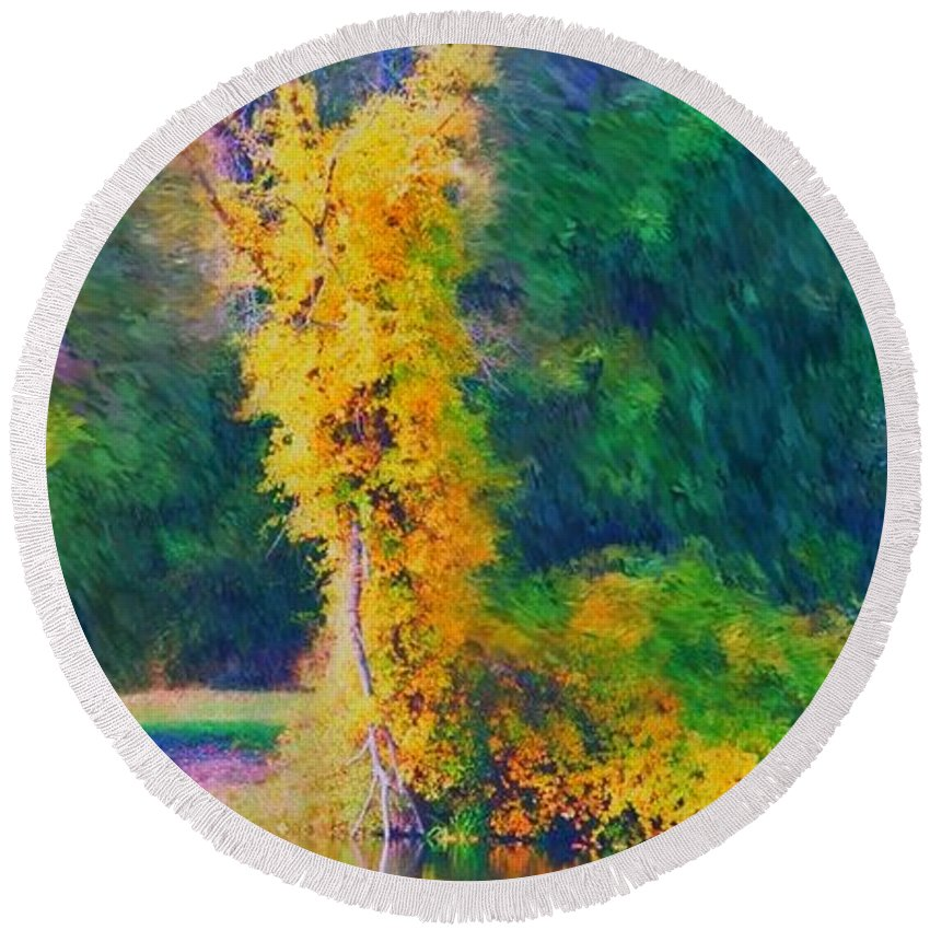 Digital Landscape Round Beach Towel featuring the digital art Yellow Reflections by David Lane
