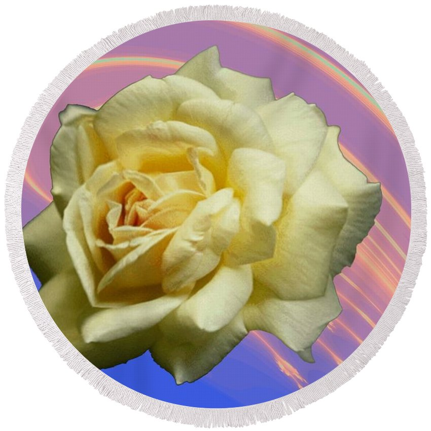 Rose Round Beach Towel featuring the photograph Yellow Rose 3 by Tim Allen