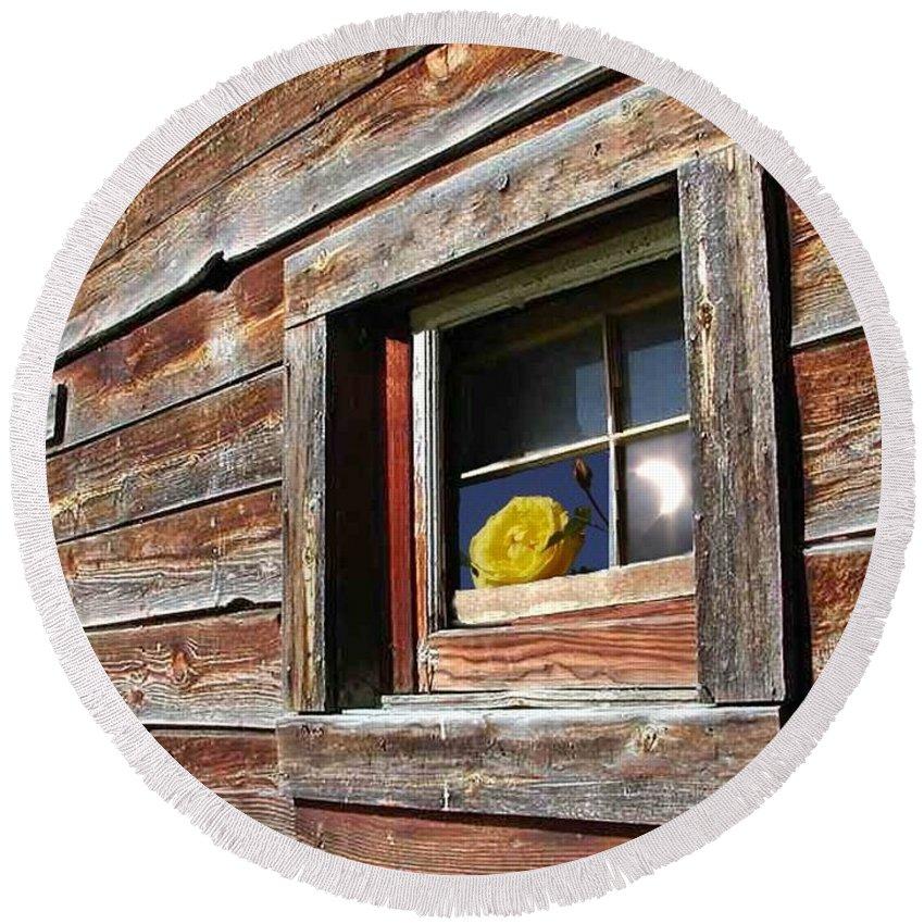 Barn Round Beach Towel featuring the digital art Yellow Rose Eclipse by Tim Allen