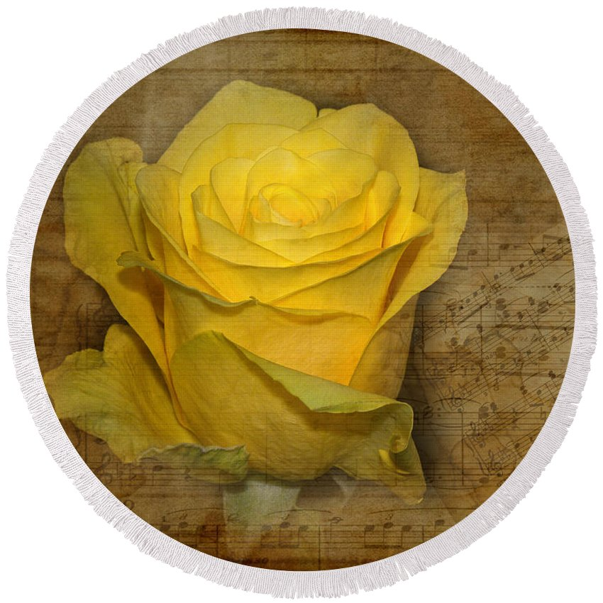 Flower Round Beach Towel featuring the photograph Yellow Rose With Old Notes Paper On The Background by Vesela Yokova