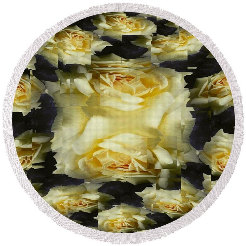 Rose Round Beach Towel featuring the photograph Yellow Roses 2 by Tim Allen