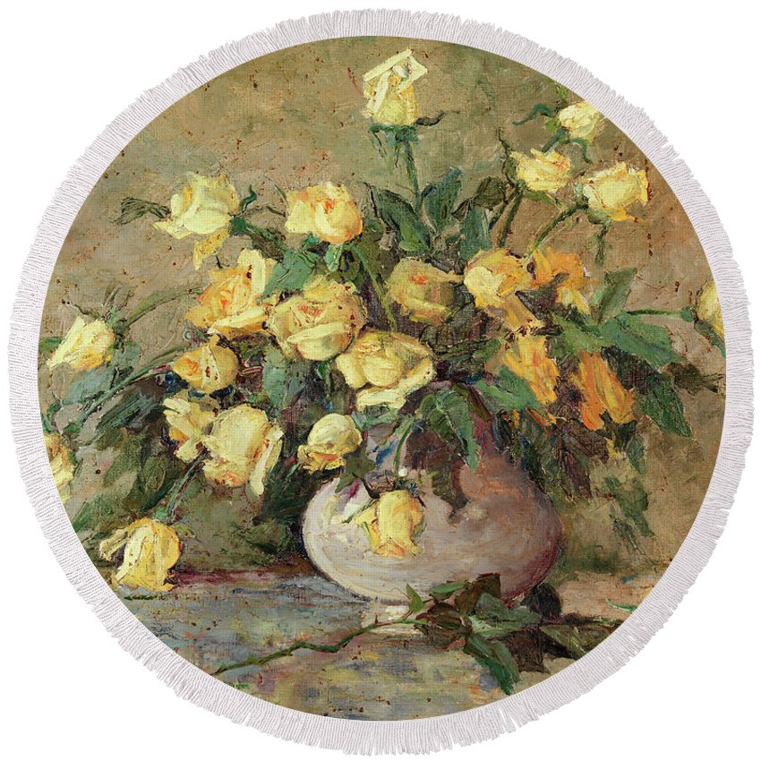 Yellow Roses Round Beach Towel featuring the painting Yellow Roses by Jeannette Agnew Lyon