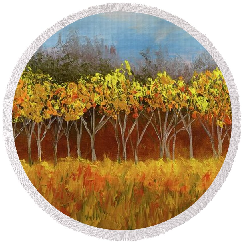 Round Beach Towel featuring the painting Yellow Stand Of Trees by Barrie Stark