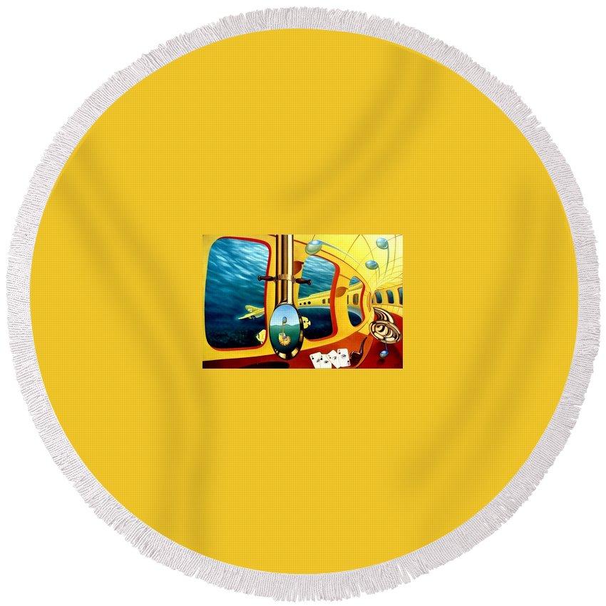 Art Oil Painting Canvas Yellow Submarine Nautilus Trompet Corn Music Round Beach Towel featuring the painting Yellow Submarine by Gyuri Lohmuller