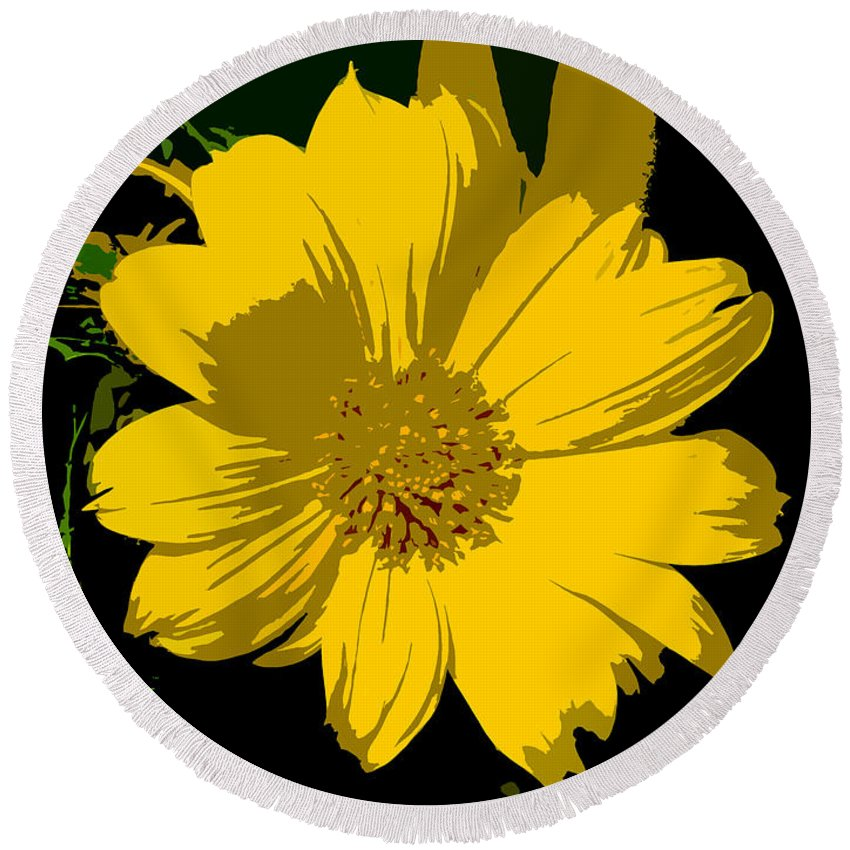 Flower Round Beach Towel featuring the photograph Yellow Sunshine Work Number 8 by David Lee Thompson