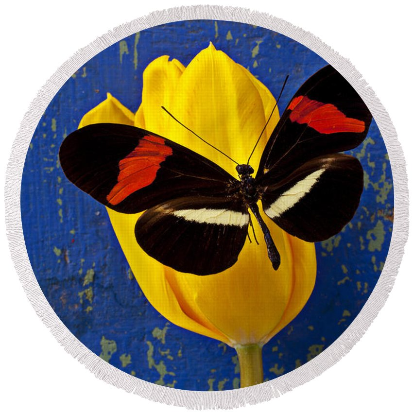 Yellow Round Beach Towel featuring the photograph Yellow Tulip With Orange And Black Butterfly by Garry Gay