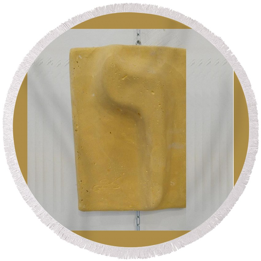 Vav Round Beach Towel featuring the mixed media Yellow Vav by Gabriele Levy