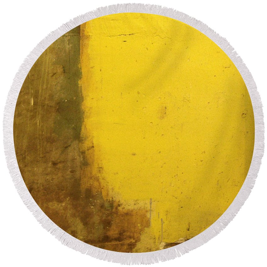 Yellow Round Beach Towel featuring the photograph Yellow Wall by Tim Nyberg