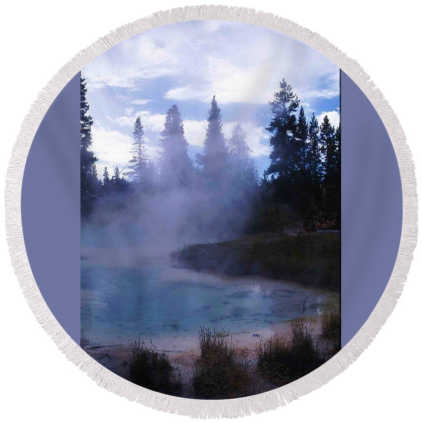 Yellowstone Round Beach Towel featuring the photograph Yellowstone Haze by Nelson Strong