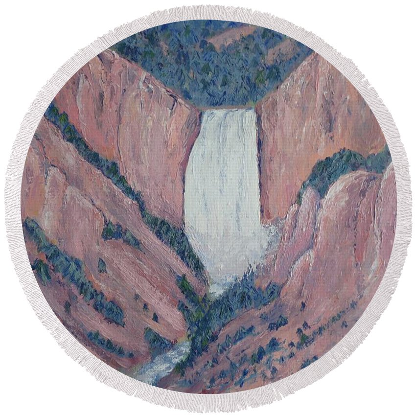 Yellowstone Round Beach Towel featuring the painting Yellowstone by Laura Zoellner
