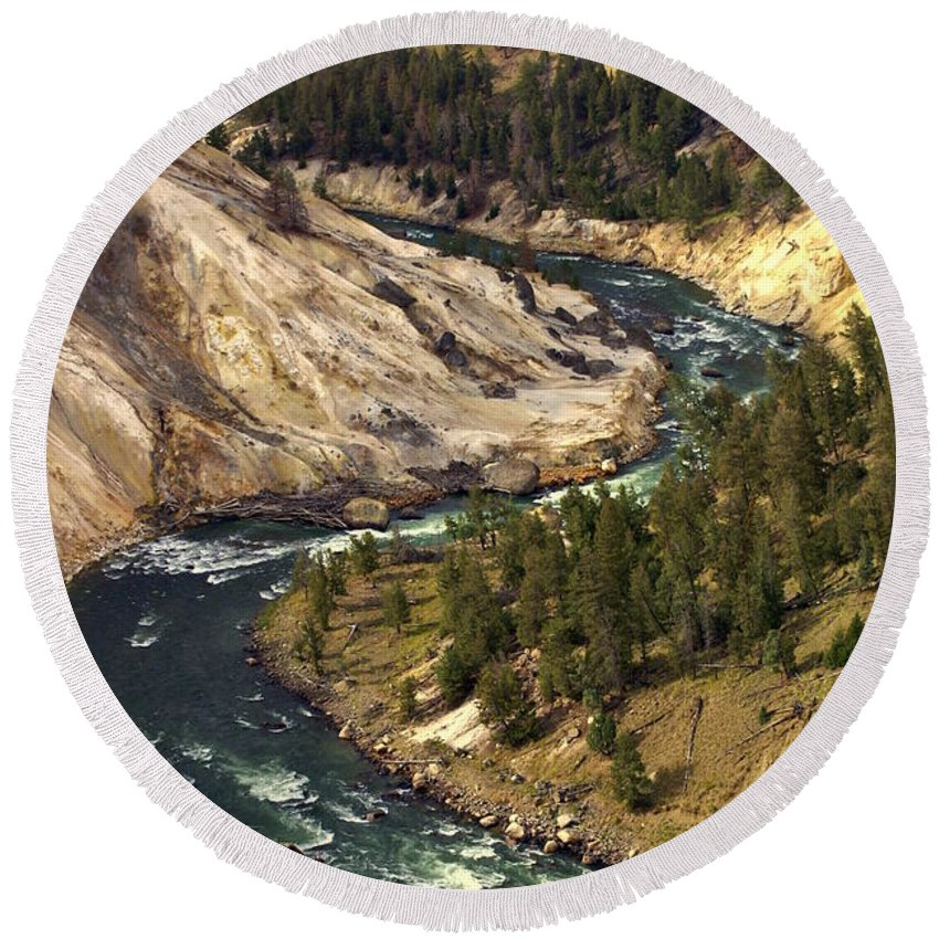 Yellowstone National Park Round Beach Towel featuring the photograph Yellowstone River Canyon by Marty Koch