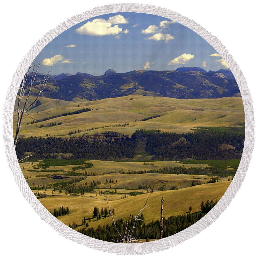 Yellowstone National Park Round Beach Towel featuring the photograph Yellowstone Vista by Marty Koch