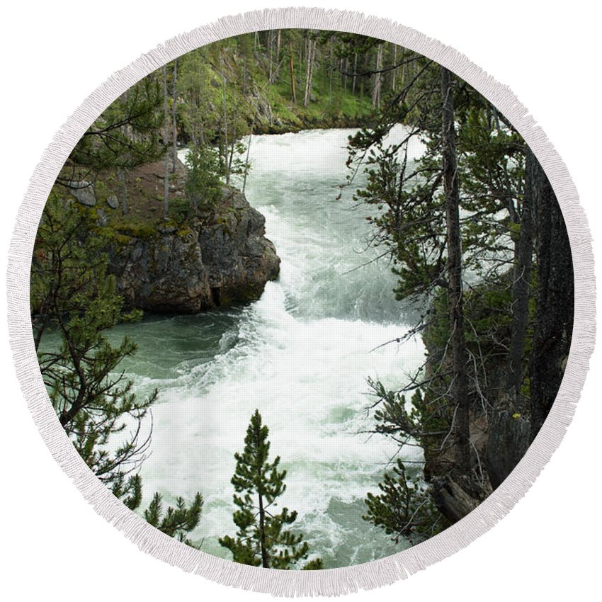 Yellowstone National Park Round Beach Towel featuring the photograph Yellowstone Waterfall by Linda Kerkau