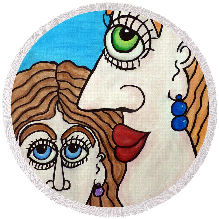 Woman Round Beach Towel featuring the painting Yes, Mother... - Oui, Maman... by Fafard