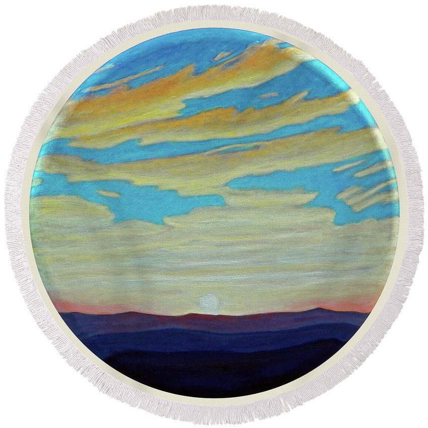 Landscape Round Beach Towel featuring the painting Yesterday by Brian Commerford