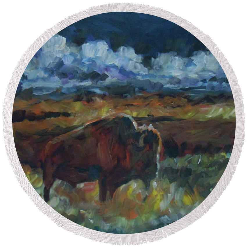Buffalo Round Beach Towel featuring the painting Yesterday by Susan Moore