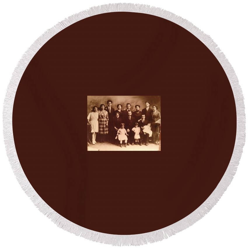 Aunts Round Beach Towel featuring the photograph Yesteryears-grandfather Philip And Our Family by Ericamaxine Price