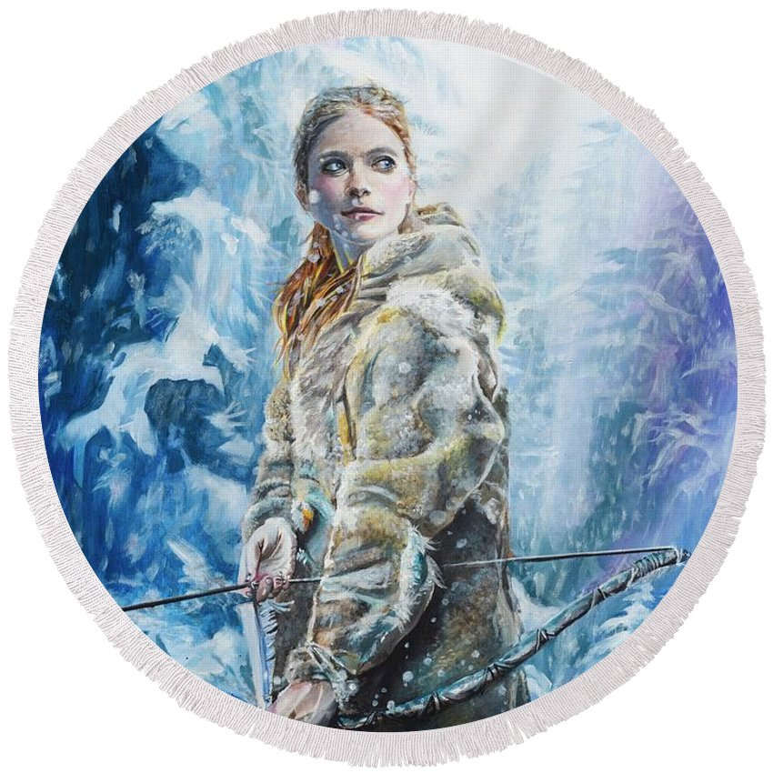 Ygritte Paintings Round Beach Towel featuring the painting Ygritte The Wilding by Baroquen Krafts
