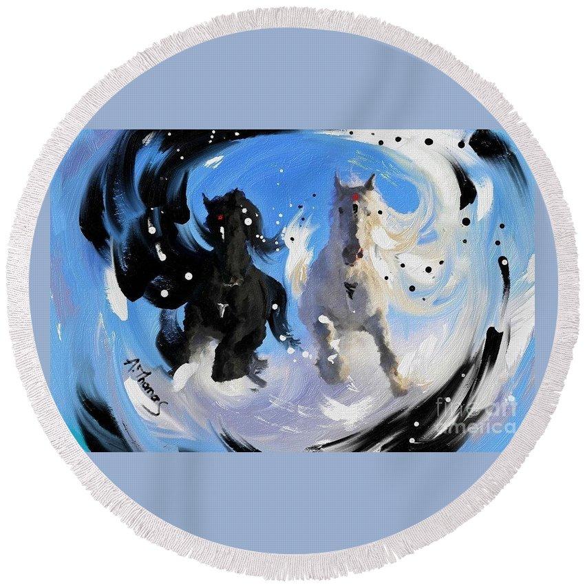 Yin Yang Round Beach Towel featuring the digital art Yin Yang Horse by Alex Thomas