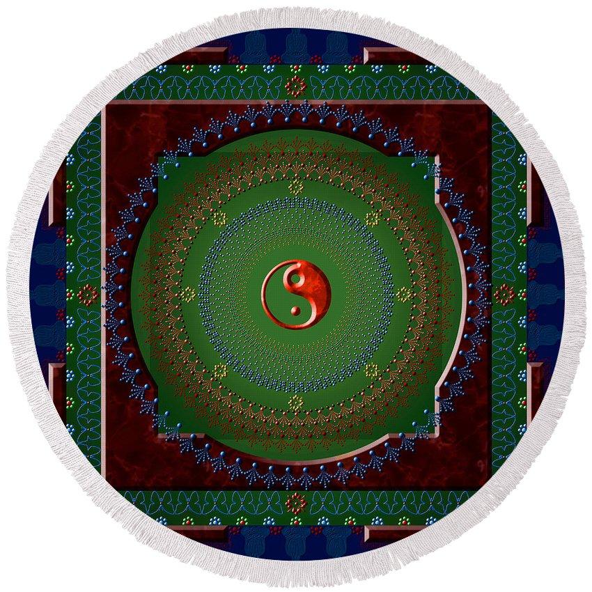 Mandala Round Beach Towel featuring the digital art Yin Yang by Stephen Lucas
