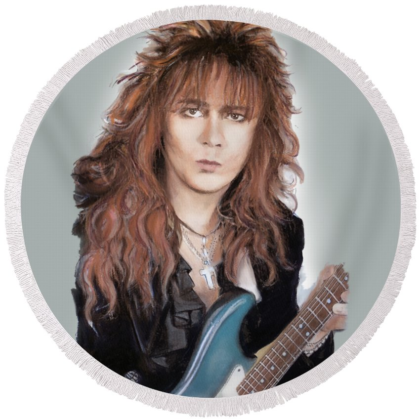 Yngwie Malmsteen Round Beach Towel featuring the mixed media Yngwie Malmsteen by Melanie D