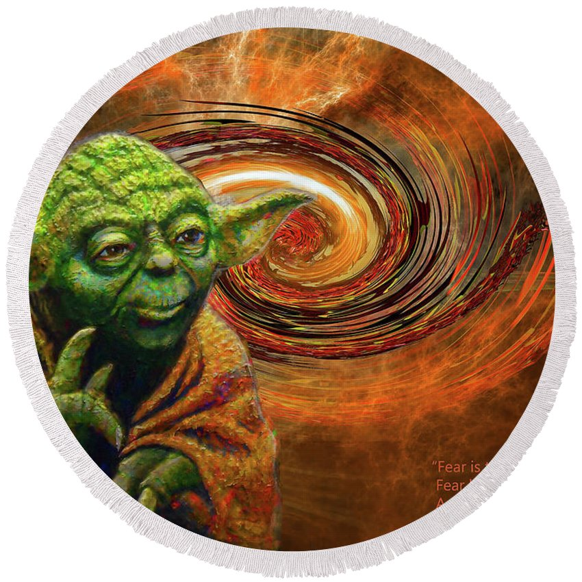Yoda Round Beach Towel featuring the mixed media Yoda-no Fear by Michael Durst