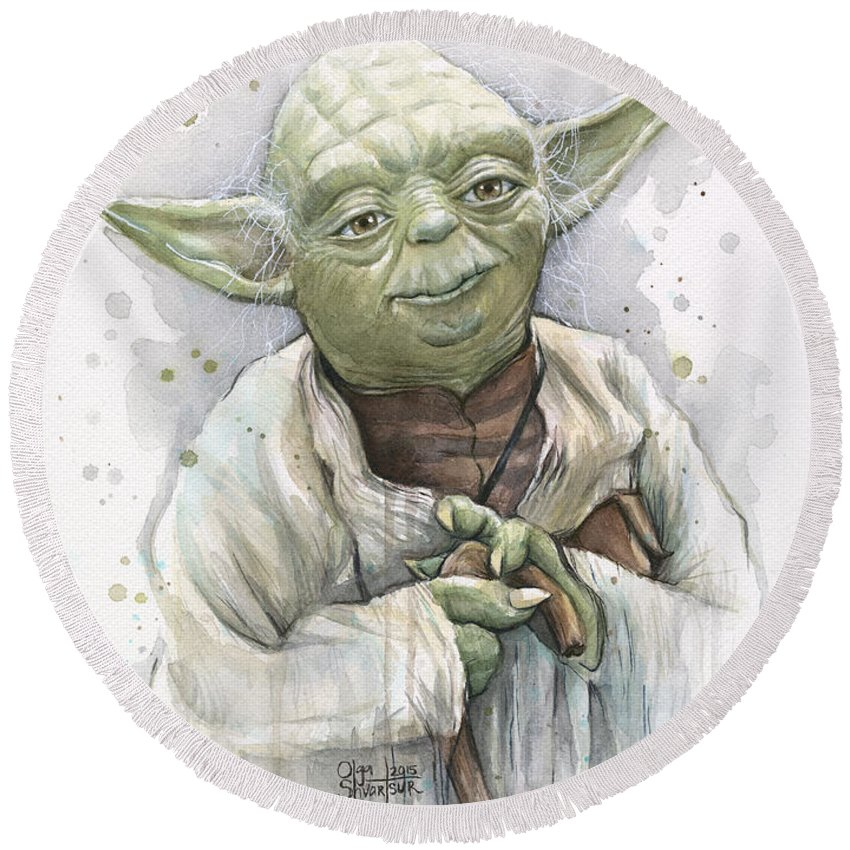 Yoda Round Beach Towel featuring the painting Yoda by Olga Shvartsur