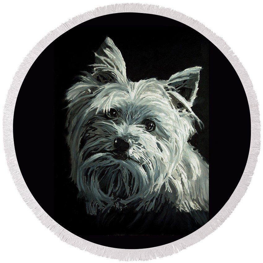 Animals Round Beach Towel featuring the painting Yorkie by Portraits By NC