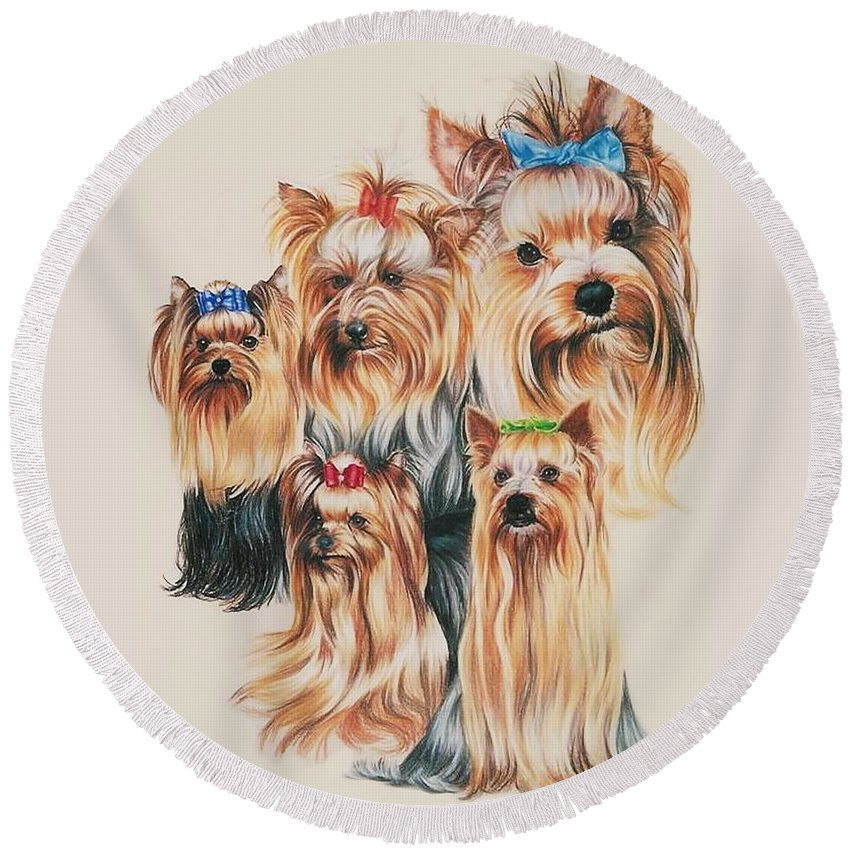 Purebred Round Beach Towel featuring the drawing Yorkshire Terrier by Barbara Keith