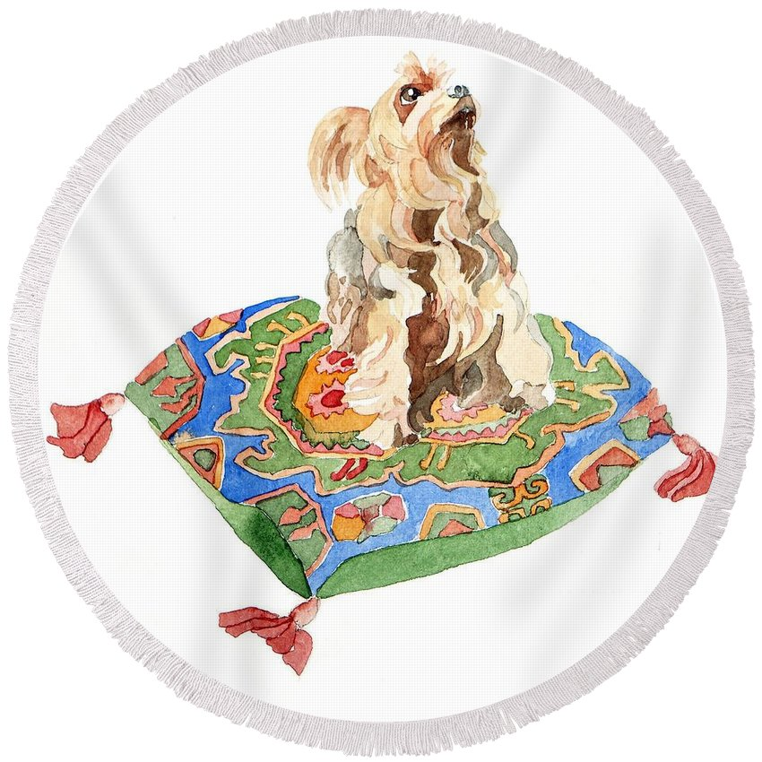 Yorkshire Terrier Round Beach Towel featuring the painting Yorkshire Terrier by Jennifer Abbot