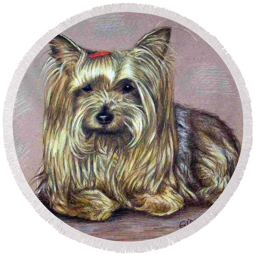 Dog Round Beach Towel featuring the drawing Yorkshire Terrier by Nicole Zeug