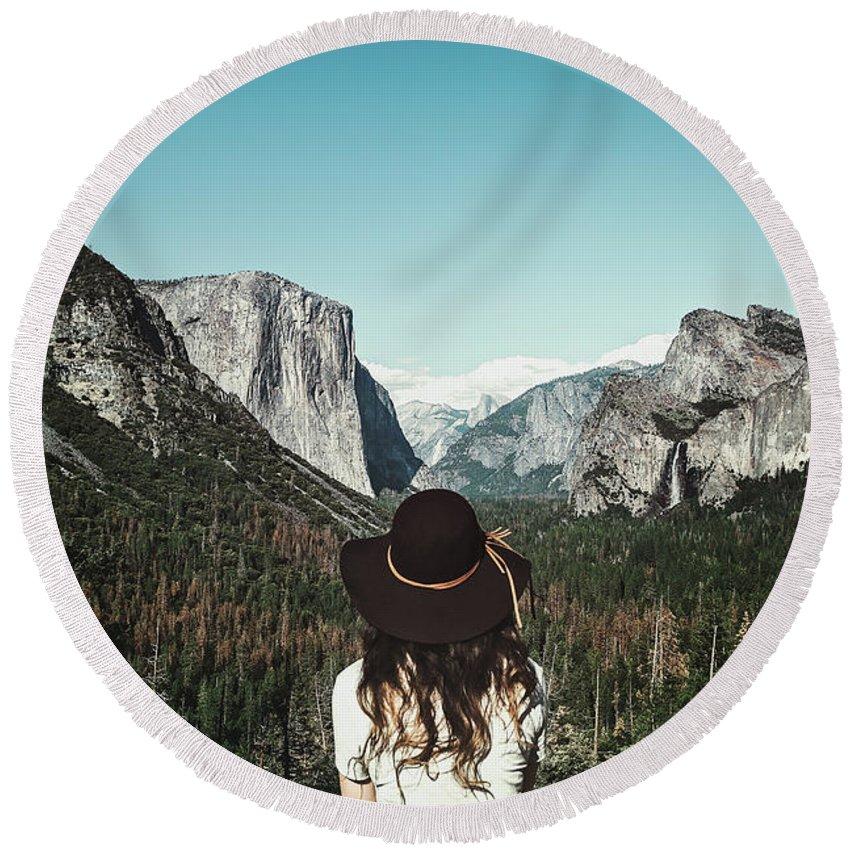 America Round Beach Towel featuring the photograph Yosemite Awe by Marji Lang