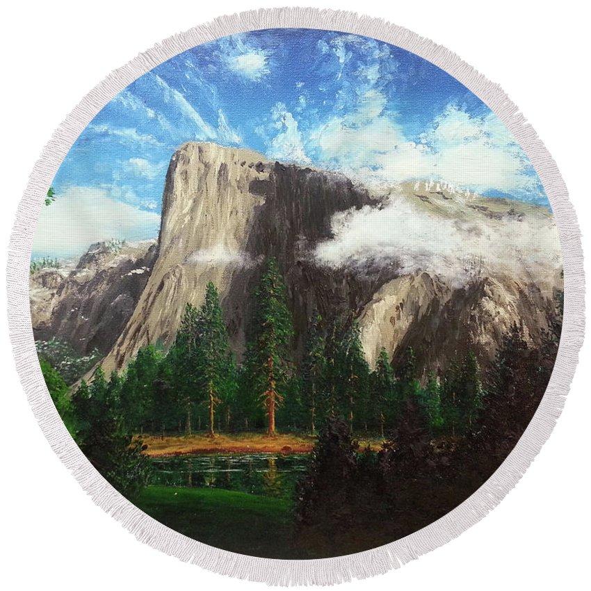 Yosemite Round Beach Towel featuring the painting Yosemite by Bill Junor