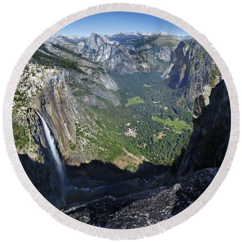 Sierra Round Beach Towel featuring the photograph Yosemite Falls And Valley From Eagle Tower - Yosemite by Bruce Lemons