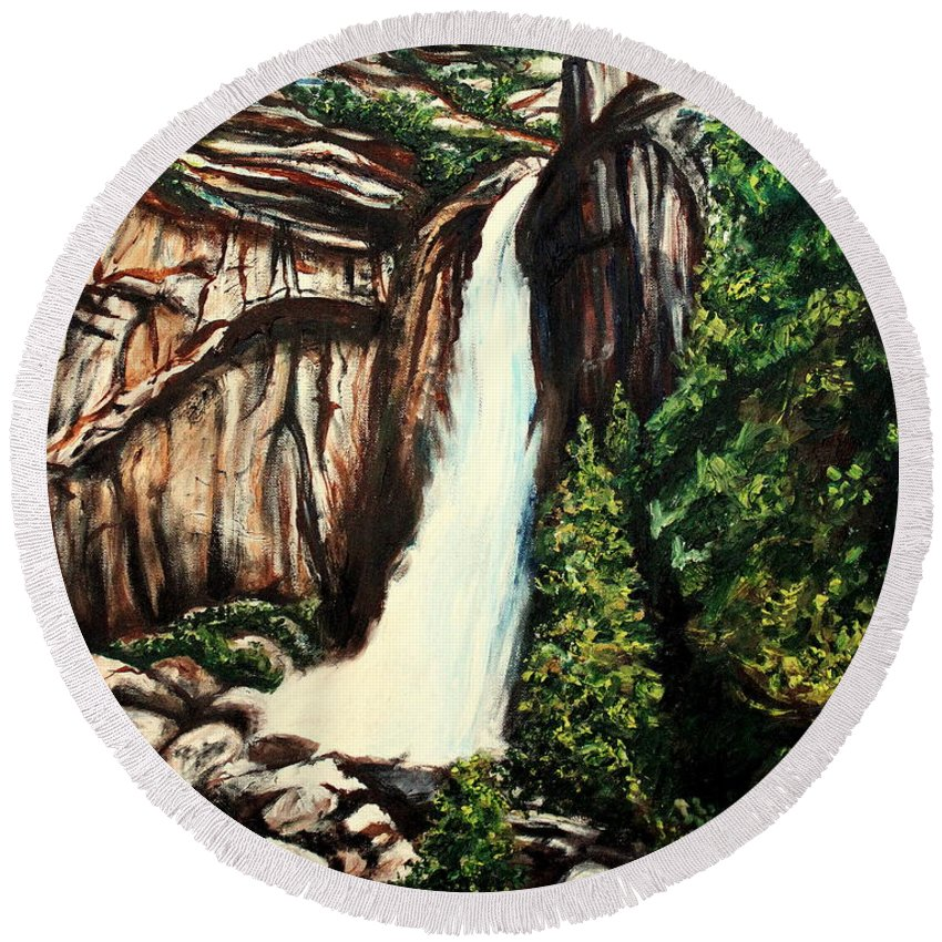 Landscape Round Beach Towel featuring the painting Yosemite Falls by Elizabeth Robinette Tyndall