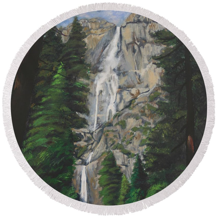 Landscape Round Beach Towel featuring the painting Yosemite Falls by Travis Day