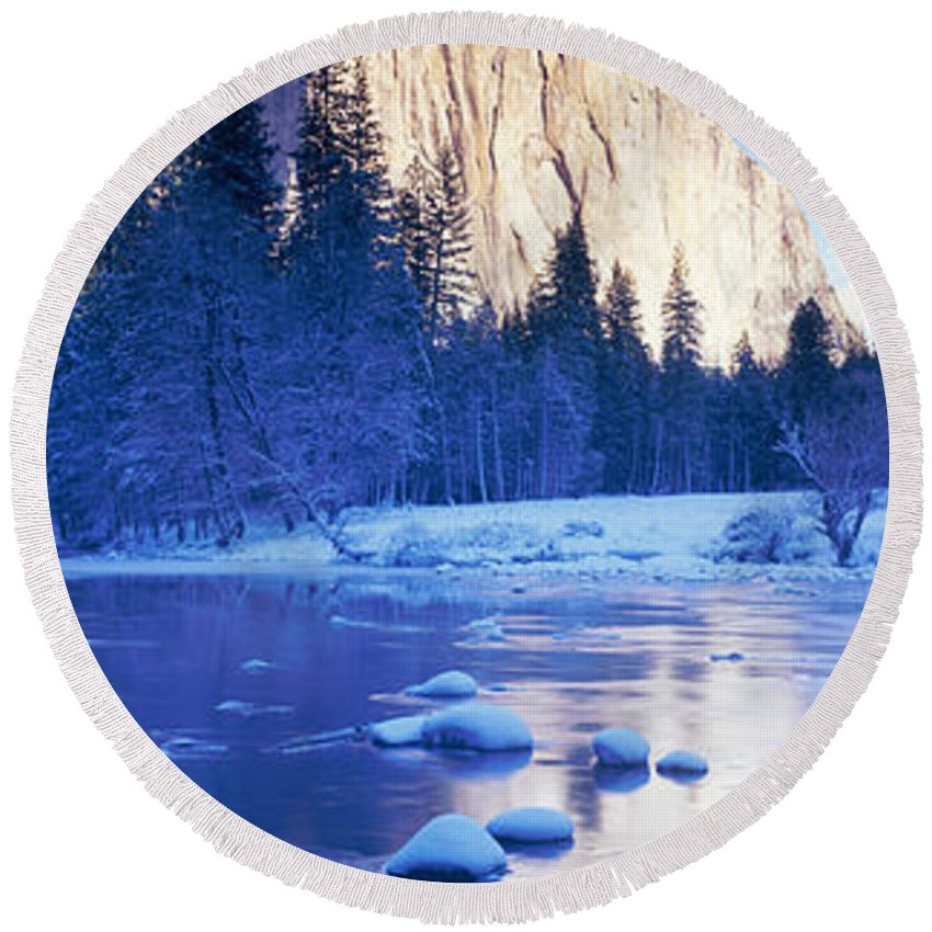 Photography Round Beach Towel featuring the photograph Yosemite National Park, California by Panoramic Images