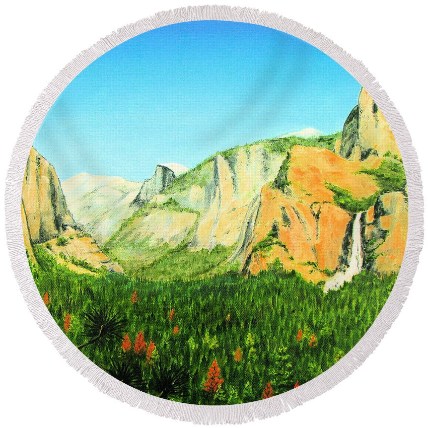 Yosemite National Park Round Beach Towel featuring the painting Yosemite National Park by Jerome Stumphauzer